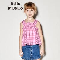 littlemoco夏季新品女童吊带上衣橡筋荷叶边清新格子无袖上衣