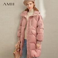 【到手价:612元】Amii极简欧货潮时尚鸭绒羽绒服2019冬季新款连帽保暖宽松中长外套