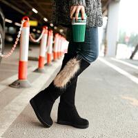 彼艾2017秋冬品韩版时尚女靴隐形坡跟骑士靴磨砂内增高女长靴中跟圆头高筒靴子