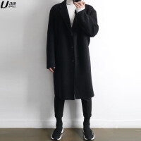 男士毛呢大衣中长款冬季新款黑色双面羊绒大衣男青年韩版呢子外套 (加棉款)