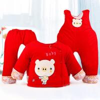 阳光菊 小猪大红棉衣三件套 秋冬宝宝棉衣背带裤套装
