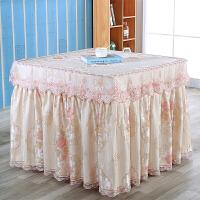 薄款电炉罩烤火罩正方形防尘麻将机罩茶几罩电暖炉套取暖桌布 粉红色 春暖花开粉