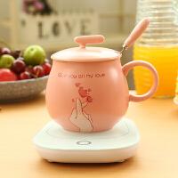 55度恒温马克杯带盖勺暖暖保温加热陶瓷杯子咖啡牛奶情侣创意水杯