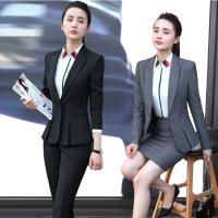 2017新款时尚女士职业套装面试正装气质工作服修身西装套装女秋冬 2X