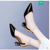 新款古奇天伦韩版中跟女士凉鞋高跟鞋粗跟一字扣女鞋百搭夏季HY08946