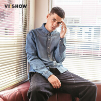 VIISHOW新款衬衫男 2018春季潮流寸衫男士方领牛仔衬衣牛仔上衣