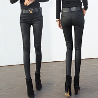 秋冬新款冬季打底裤子女士韩版黑色女裤外穿高腰仿皮亚光皮裤 黑色(加绒) 送腰带