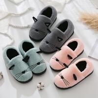 棉拖鞋女厚底冬季韩版可爱时尚室内防滑软底子地板男卡通棉拖鞋