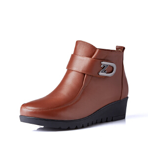 富贵鸟女鞋  新品欧美短靴女低跟圆头裸靴加绒平底及踝靴