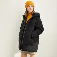 【到手价:476元】Amii极简学院风减龄宽松羽绒服女2019冬季新款连帽开衩中长款外套