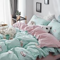 韩式少女心全棉水洗棉四件套宝宝绒珊瑚绒水晶绒床单被套床上用品