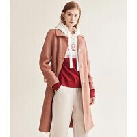 红袖/HOPESHOW系带单排扣人字纹双面呢大衣