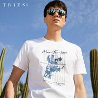 才子男装圆领短袖T恤男士2020夏季新款水墨印花潮流字母纯棉体恤
