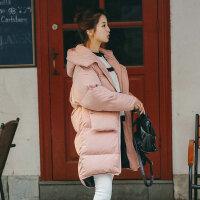 冬季女韩版宽松bf百搭中长款棉衣学生面包服连帽加厚棉袄外套 AS7103粉红色