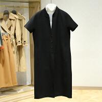 双面呢大衣女冬装新款 韩版立领单排扣百搭中长款短袖外套