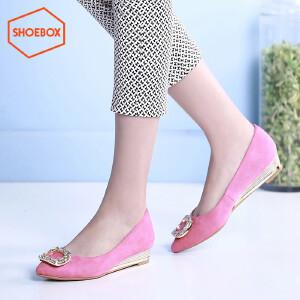 达芙妮旗下shoebox鞋柜春休闲舒适方扣低跟女鞋坡跟尖头浅口单鞋