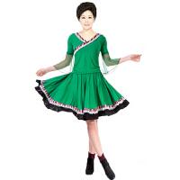 广场舞服装套装 舞蹈练习套装 民族风格大摆裙裙子 跳舞服健身服短袖上衣裙子套装