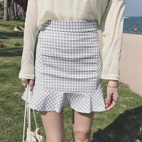 春季女装新款韩版小清新显瘦包臀鱼尾裙学生修身高腰格子半身裙潮