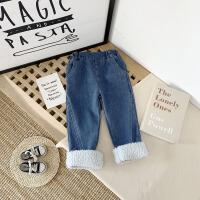女童加绒秋冬季童装儿童外穿宽松牛仔裤宝宝洋气保暖长裤