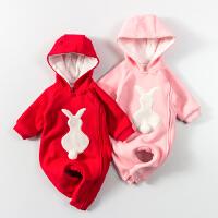 婴儿连体衣服女宝宝新生儿衣服冬季0岁3个月冬装秋冬季卫衣外出服