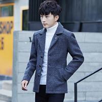 冬季新款男士毛呢大衣短款外套青年韩版修身翻领羊毛呢子男装