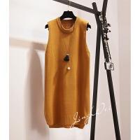 韩版无袖打底毛衣马甲针织背心裙女秋冬季中长款宽松套头毛线坎肩 均码