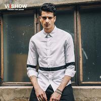 viishow秋装新款长袖衬衫 欧美简约修身白衬衫男式衬衣单挑纹