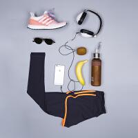 春夏健身裤女假两件速干瑜伽 跑步运动弹力九分裤紧身束腿裤 桔色 假两件瑜伽长裤