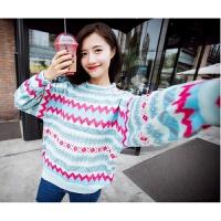 秋冬新款韩版甜美撞色几何图形灯笼袖蝙蝠袖毛线衫套头毛衣上衣女 主图色 均码