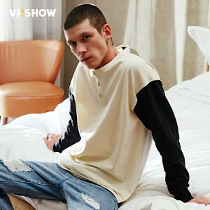 viishow2017春季新品长袖T恤男纯棉圆领拼接潮款撞色青年休闲t恤