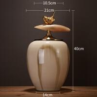 新古典家居客厅装饰品摆件插花实用新房酒柜摆设储物罐创意工艺品