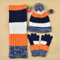 男童秋冬保暖毛线帽子围巾套装 中童大童儿童帽子围巾手套三件套
