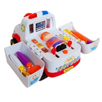 儿童节礼物 男孩宝宝儿童益智汇乐救护车玩具 电动救护车 儿童过家家早教玩具