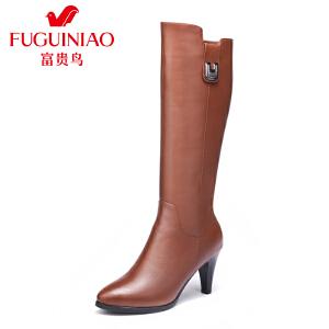 富贵鸟女鞋新款女靴长靴女秋冬长筒靴高筒靴子女士皮靴骑士靴
