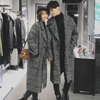 情侣装长款呢子大衣冬装韩国宽松呢风衣潮男青年毛呢大衣外套加厚 千鸟格