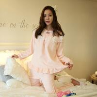 睡衣冬女可爱珊瑚绒加厚韩版清新学生可外穿加绒甜美套装法兰绒秋 #68050