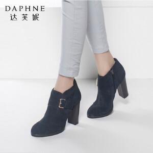 Daphne/达芙妮正品女靴秋冬季时尚圆头靴子皮带扣粗高跟潮短靴女踝靴