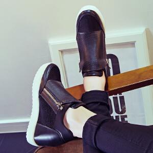 【满200减100】毅雅乐福鞋女鞋春季新款内增高休闲单鞋韩版时尚潮流平底小白鞋TD6RW0060