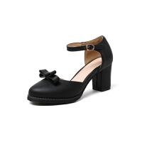 ELEISE美国艾蕾莎新品020-A40-1日系超纤皮高跟粗跟女士凉鞋