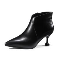 年秋冬新款女鞋头层牛皮猫跟女短靴牛筋底细跟高跟鞋