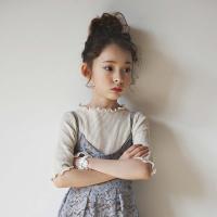 女童T恤春夏新童装儿童木耳边打底衫亲子装中大童中袖打底衫