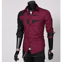 速卖通超批发韩版男士潮流修身时尚个性纯色拼接长袖衬衫C01