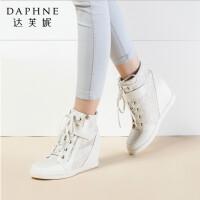 Daphne/达芙妮时尚 系带魔术贴拉链内增高女高帮鞋1515605018