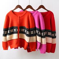 N8女装针织开衫毛衣外套女雪花拼色短款加厚秋冬新款韩版