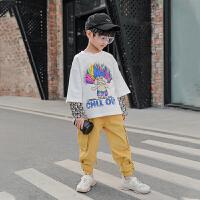 男童卫衣春装新款春款中大童儿童假两件