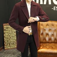毛呢大衣男中长款 秋冬季韩版呢子风衣潮流修身青年男士妮子外套