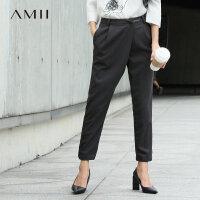 【品牌团 1件7折/2件5折】Amii[极简主义]秋装女新款撞色印花修身显瘦九分西裤休闲裤