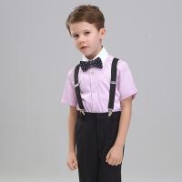 男童短袖长裤背带套装 儿童西服男小西装演出服花童礼服钢琴主持夏