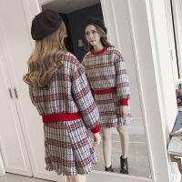 版拼色粗花呢格子卫衣+高腰流苏半身裙两件套套装女装春秋新款
