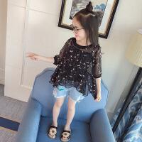 女童刺绣花朵蕾丝网纱连衣裙2018春夏两件套装裙吊带裙潮